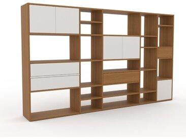 Bibliothèque - Blanc, design contemporain, avec porte Blanc et tiroir Blanc - 267 x 157 x 35 cm