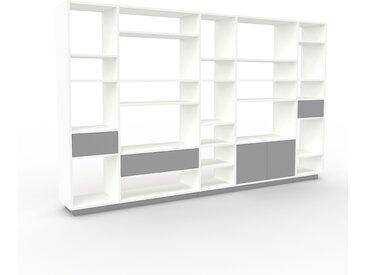 Bibliothèque - Blanc, design contemporain, avec porte Gris et tiroir Gris - 267 x 162 x 35 cm