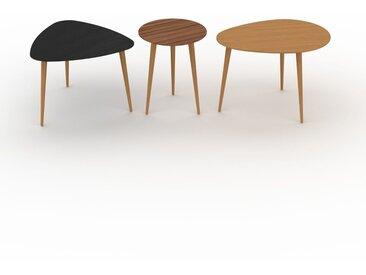 Tables basses gigognes - Chêne, triangulaire/ronde/ovale, design scandinave, set de 3 tables basses - 59/40/67 x 44/50/47 x 61/40/50 cm