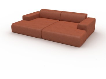 Canapé en cuir - Cognac Cuir Végan, lounge, esprit club ou cosy avec toucher chaleureux - 270 x 72 x 168 cm, modulable