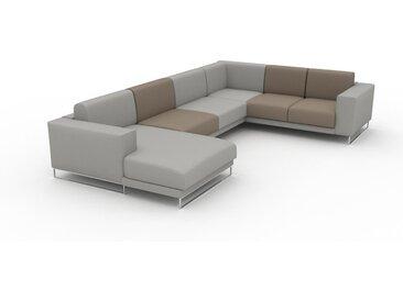 Canapé en cuir - Gris taupe/Gris sable Cuir Nubuck, lounge, esprit club ou cosy avec toucher chaleureux, 238x 75 x 358 cm, modulable