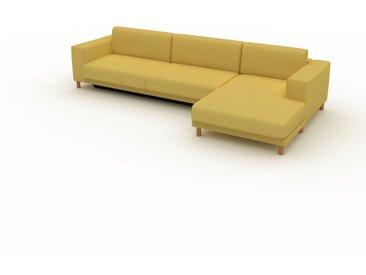 Canapé convertible - Jaune Moutarde, design épuré, canapé lit confortable, confortable avec coffre de rangement - 328 x 75 x 162 cm, modulable
