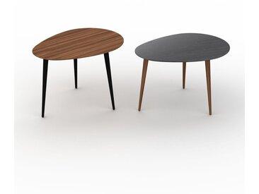 Tables basses gigognes - Noir, ovale/ovale, design scandinave, set de 2 tables basses - 67/67 x 47/44 x 50/50 cm, personnalisable