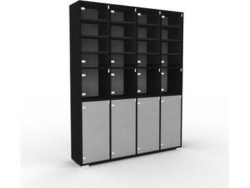 Vitrine - Verre clair transparent, moderne, pour documents, avec porte Verre clair transparent - 156 x 196 x 35 cm, personnalisable