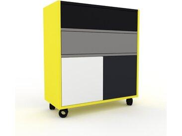 Caisson à roulette - Jaune citron, moderne, avec porte Blanc et tiroir Gris - 77 x 87 x 35 cm