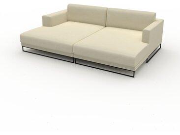 Canapé en cuir - Blanc crème Cuir Végan, lounge, esprit club ou cosy avec toucher chaleureux, 236x 75 x 162 cm, modulable