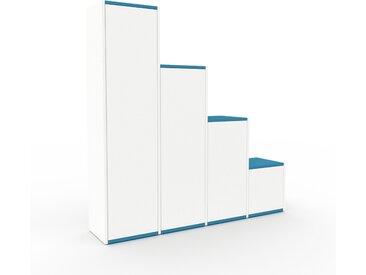 Armoire haute - Blanc, moderne, pour documents, avec porte Blanc - 156 x 157 x 35 cm, personnalisable