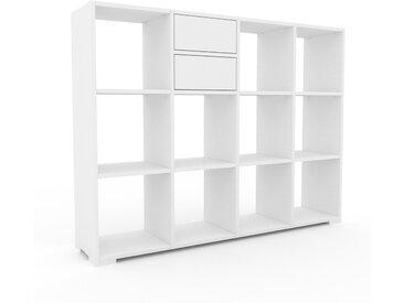 Range CD - Blanc, moderne, meuble pour vinyles, DVD, avec tiroir Blanc - 156 x 120 x 35 cm, configurable