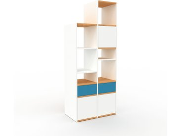 Système d'étagère - Blanc, design, rangements, avec porte Blanc et tiroir Bleu - 79 x 195 x 47 cm