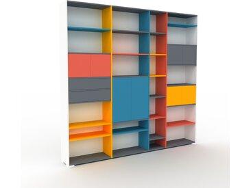 Bibliothèque - Blanc, design contemporain, avec porte Rouge et tiroir Anthracite - 265 x 254 x 35 cm