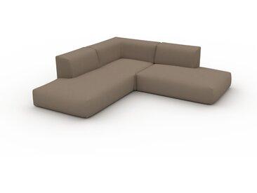 Canapé d'angle - Gris Taupe, design arrondi, canapé en L ou angle, confortable avec méridienne ou coin - 241 x 72 x 241 cm, modulable
