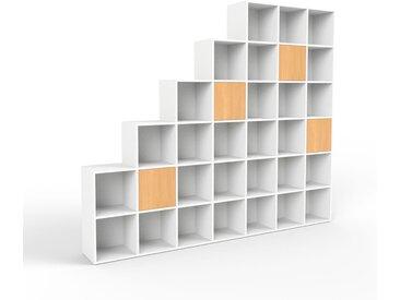 Système d'étagère - blanc, modulable, rangements, avec porte hêtre - 272 x 233 x 35 cm