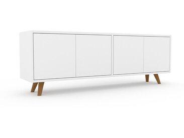Buffet bas - Blanc, pièce de caractère, rangements bas de luxe, avec porte Blanc - 152 x 53 x 35 cm, personnalisable