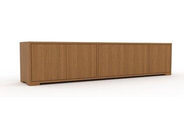 Buffet bas - Chêne, pièce de caractère, rangements bas de luxe, avec porte Chêne - 190 x 43 x 35 cm, personnalisable
