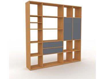 Système d'étagère - Chêne, design, rangements, avec porte Anthracite et tiroir Anthracite - 193 x 195 x 35 cm