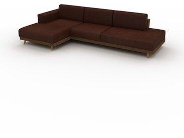 Canapé en cuir - Cognac Cuir Nubuck, lounge, esprit club ou cosy avec toucher chaleureux, 304x 75 x 162 cm, modulable
