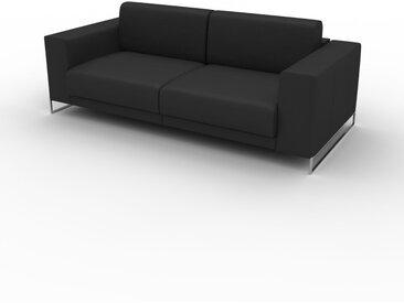 Canapé en cuir - Noir Cuir Aniline, lounge, esprit club ou cosy avec toucher chaleureux, 208x 75 x 98 cm, modulable