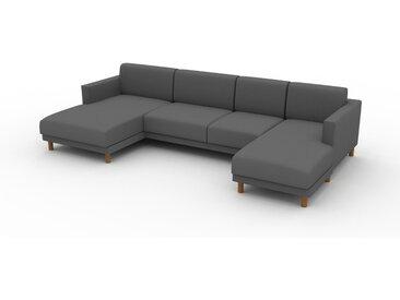 Canapé en U - Gris Pierre, design épuré, canapé d'angle panoramique, grand et tendance, avec pieds - 304 x 75 x 162 cm, modulable