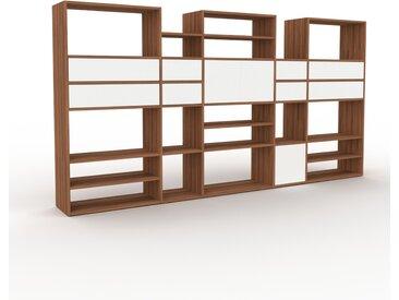 Bibliothèque - Noyer, design contemporain, avec porte Blanc et tiroir Blanc - 303 x 157 x 35 cm