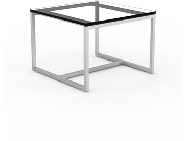 Table basse en Verre fumé transparent, design industriel, bout de canapé raffiné - 42 x 31 x 42 cm, personnalisable