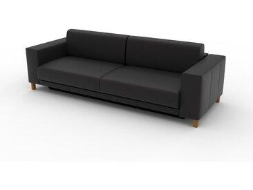 Canapé en cuir - Noir Cuir Aniline, lounge, esprit club ou cosy avec toucher chaleureux, 248x 75 x 98 cm, modulable