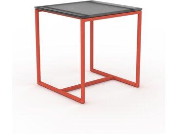 Table basse en verre fumé dépoli, design industriel, bout de canapé raffiné - 42 x 46 x 42 cm, personnalisable