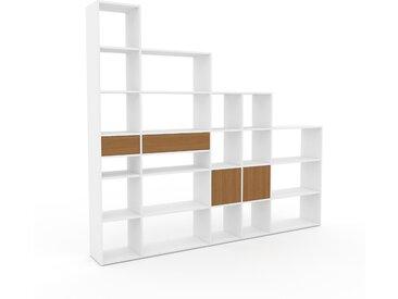 Système d'étagère - Blanc, design, rangements, avec porte Chêne et tiroir Chêne - 267 x 233 x 35 cm