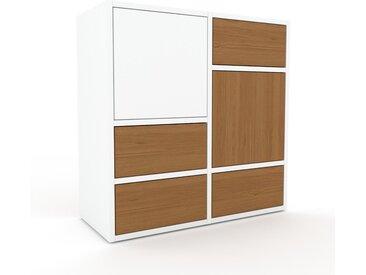 Commode - Chêne, moderne, raffinée, avec porte Blanc et tiroir Chêne - 79 x 80 x 35 cm