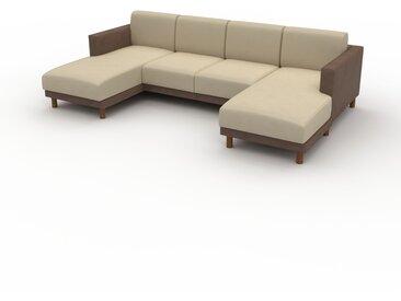 Canapé en U - Beige taupe, design épuré, canapé d'angle panoramique, grand et tendance, avec pieds - 264 x 75 x 162 cm, modulable