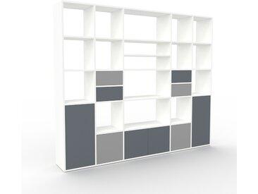 Bibliothèque - Blanc, design contemporain, avec porte Anthracite et tiroir Gris - 231 x 195 x 35 cm