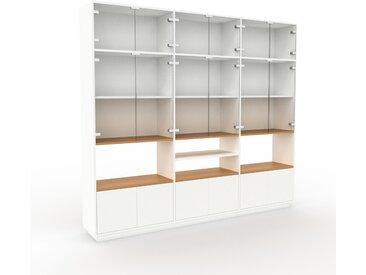 Vitrine - Verre clair transparent, moderne, pour documents, avec porte Verre clair transparent - 226 x 200 x 35 cm, personnalisable