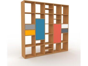 Bibliothèque murale - Chêne, combinable, étagère, avec porte Bleu et tiroir Gris - 195 x 195 x 35 cm