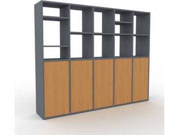 Système d'étagère - Anthracite, modulable, rangements, avec porte Chêne - 195 x 157 x 35 cm