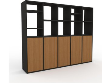 Système d'étagère - Chêne, modulable, rangements, avec porte Chêne - 195 x 157 x 35 cm