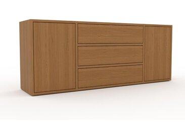 Buffet bas - Chêne, design contemporain, avec porte Chêne et tiroir Chêne - 154 x 61 x 35 cm