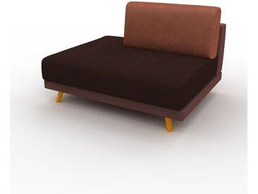 Canapé en cuir - Cognac Cuir Végan, lounge, esprit club ou cosy avec toucher chaleureux, 120x 75 x 98 cm, modulable