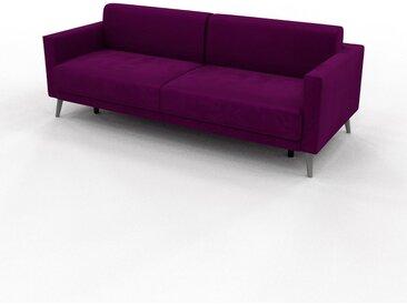 Canapé convertible Velours - Violet vigne, design épuré, canapé lit confortable, confortable avec coffre de rangement - 224 x 81 x 98 cm, modulable