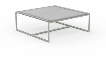 Table basse en verre clair dépoli, design industriel, bout de canapé raffiné - 81 x 31 x 81 cm, personnalisable