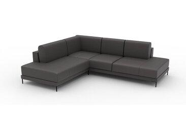 Canapé en cuir - Gris ardoise Cuir Aniline, lounge, esprit club ou cosy avec toucher chaleureux, 254x 75 x 214 cm, modulable
