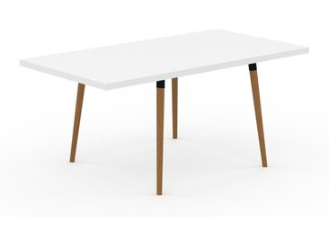 Table à manger - Blanc, design scandinave, pour salle à manger ou cuisine nordique, table extensible à rallonge - 170 x 75 x 90 cm