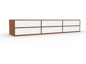 Meuble TV - Noyer, contemporain, meuble hifi, multimedia raffiné, avec tiroir Blanc - 226 x 41 x 47 cm, configurable