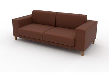 Canapé en cuir - Cognac Cuir Végan, lounge, esprit club ou cosy avec toucher chaleureux, 208x 75 x 98 cm, modulable