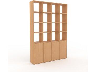 Bibliothèque - Hêtre, pièce de caractère, rangements raffiné, avec porte Hêtre - 156 x 233 x 35 cm, configurable