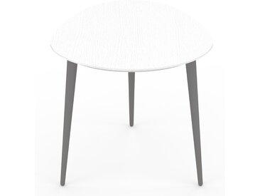 Table basse - Blanc, ovale, design scandinave, petite table pour salon élégante - 67 x 50 x 50 cm, personnalisable