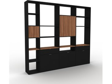 Bibliothèque murale - Noir, combinable, étagère, avec porte Noir et tiroir Noir - 265 x 233 x 35 cm