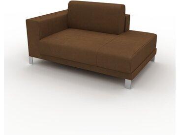 Canapé en cuir - Noix Cuir Nubuck, lounge, esprit club ou cosy avec toucher chaleureux, 144x 75 x 98 cm, modulable