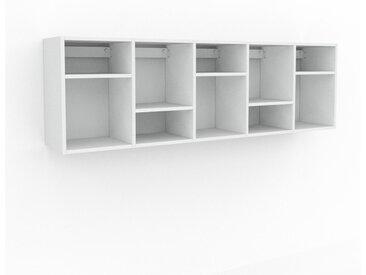 Étagère murale - Blanc, contemporaine, placard, rangements pour livres élégants, pratiques - 195 x 61 x 35 cm, personnalisable