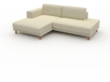 Canapé en cuir - Blanc crème Cuir Végan, lounge, esprit club ou cosy avec toucher chaleureux, 224x 75 x 162 cm, modulable