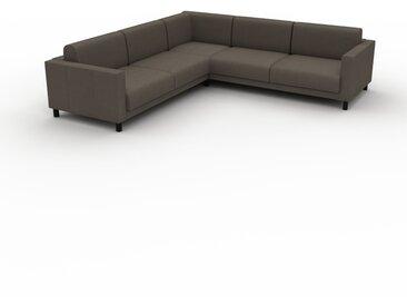 Canapé en U - Gris taupe, design épuré, canapé d'angle panoramique, grand et tendance, avec pieds - 266 x 75 x 266 cm, modulable
