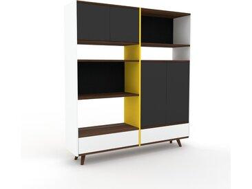 Système d'étagère - Graphite, design, rangements, avec porte Graphite et tiroir Blanc - 152 x 168 x 35 cm